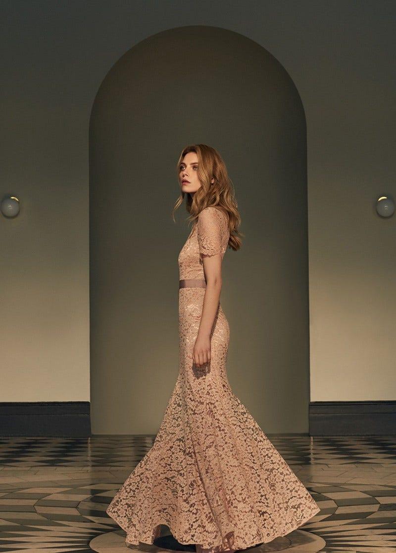Imelda Lace Gown Powder