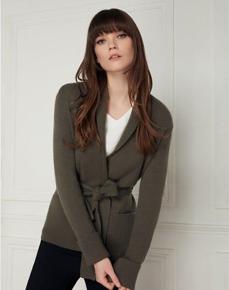 McKenzie Cashmere Cardigan Moss Green