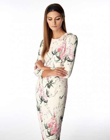 Jenna Dress Pink Wisteria Print