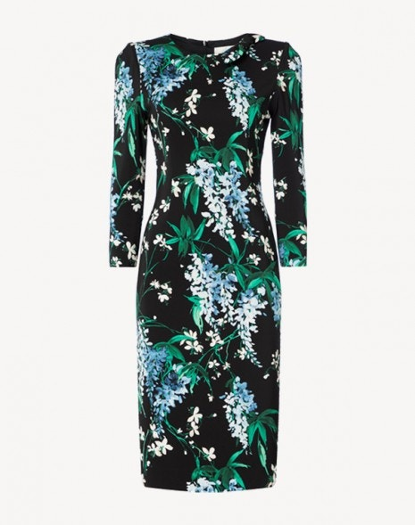 Jenna Dress Black Wisteria Print