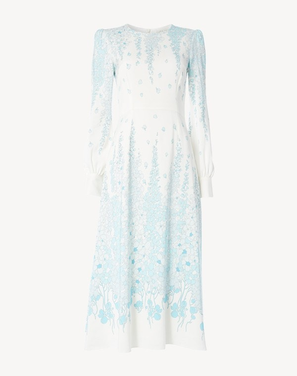 Idaho Dress Cream/Blue Lupin Print