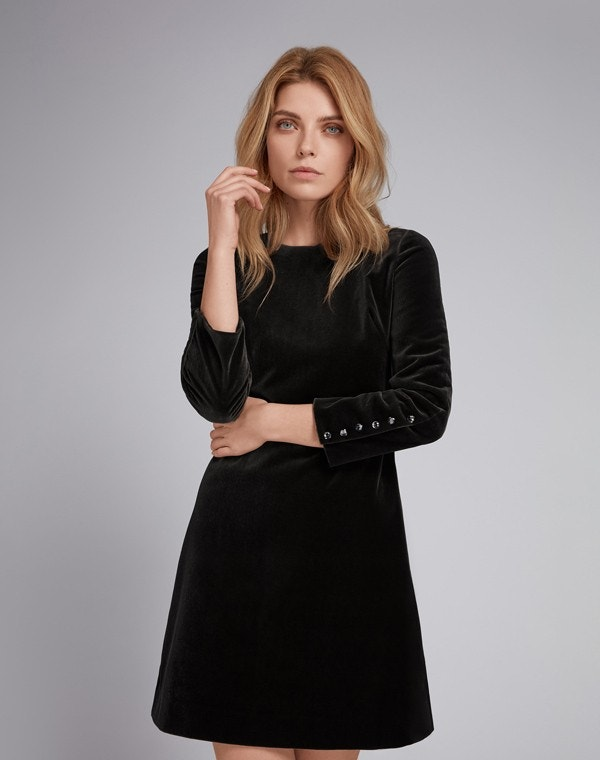 Indiana Velvet Dress Black