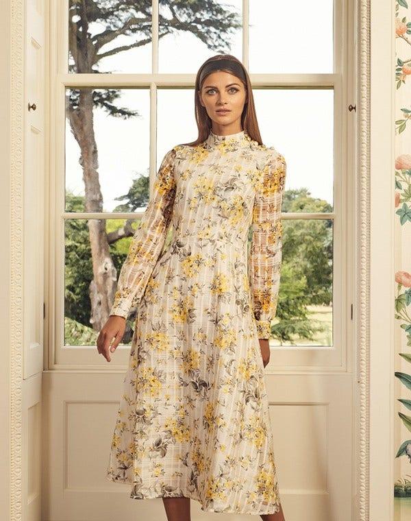 Juniper Dress Flower Check Yellow