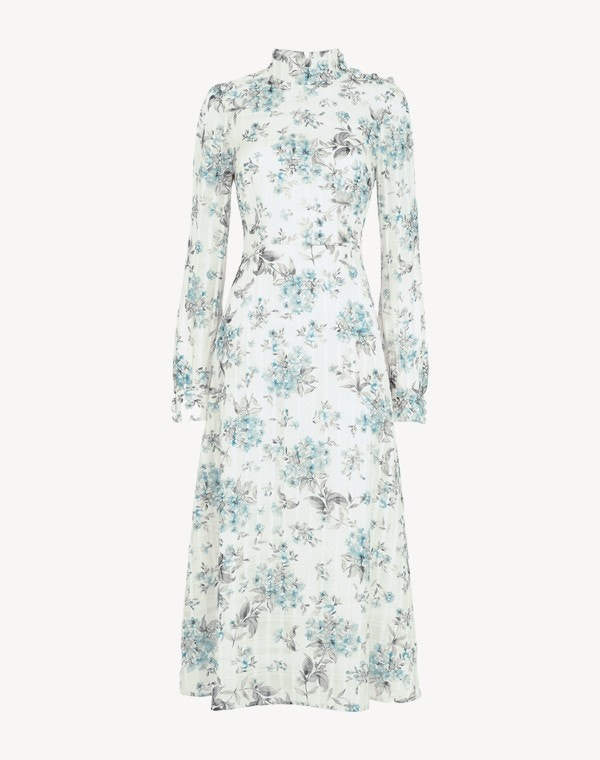 Juniper Dress Flower Check Blue