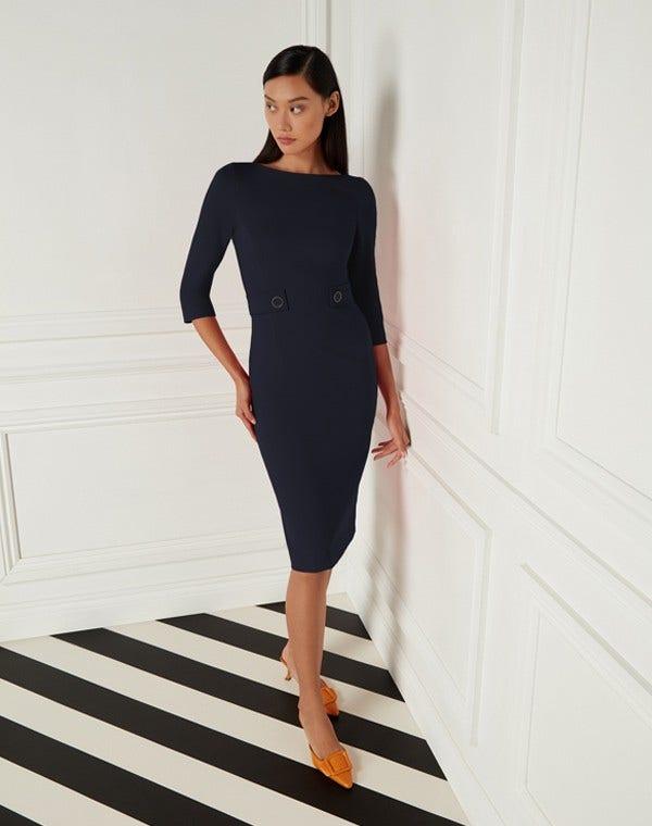 Loretta Jersey Dress Dark Navy