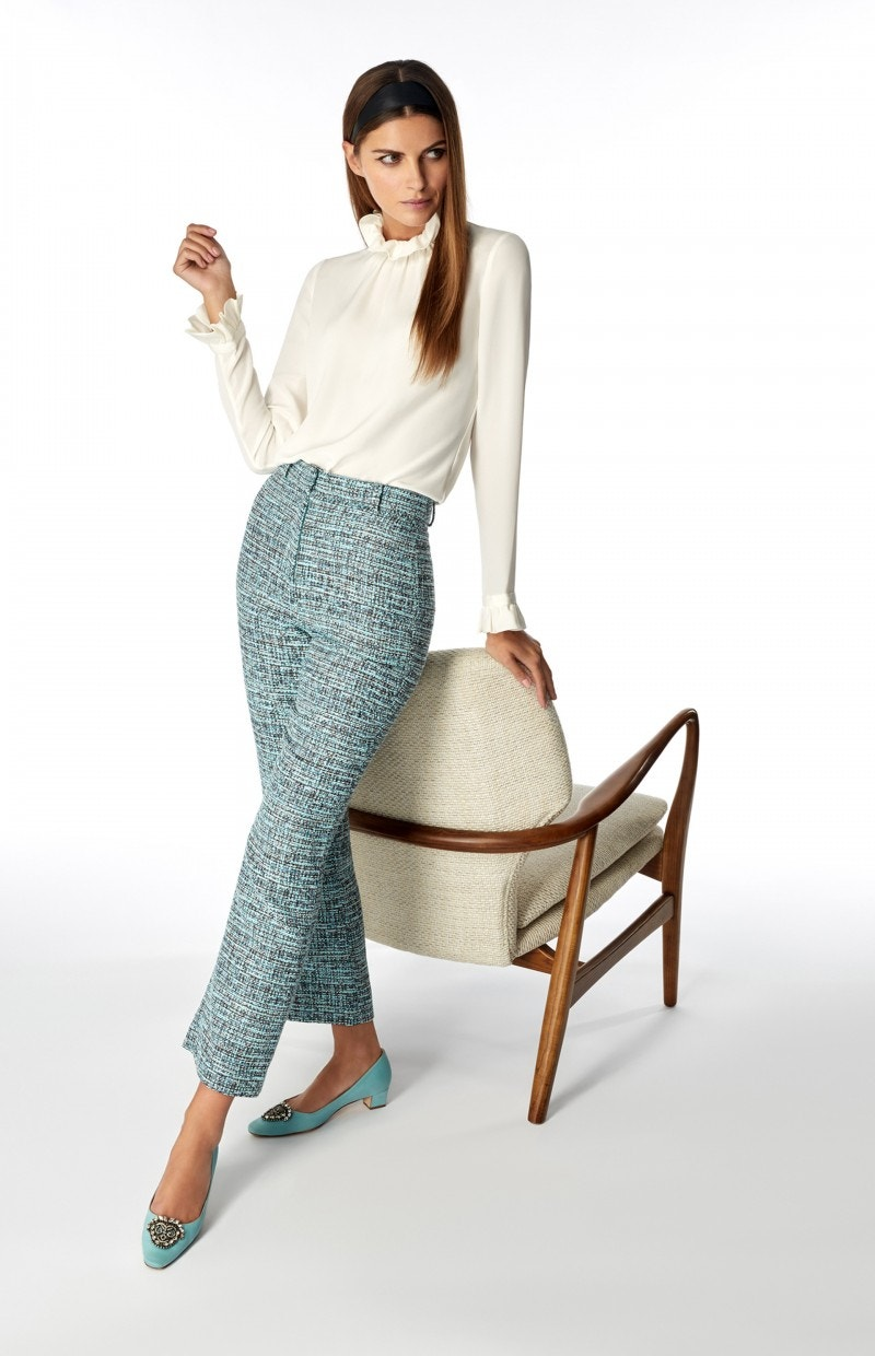 Joey Trousers Aqua Tweed