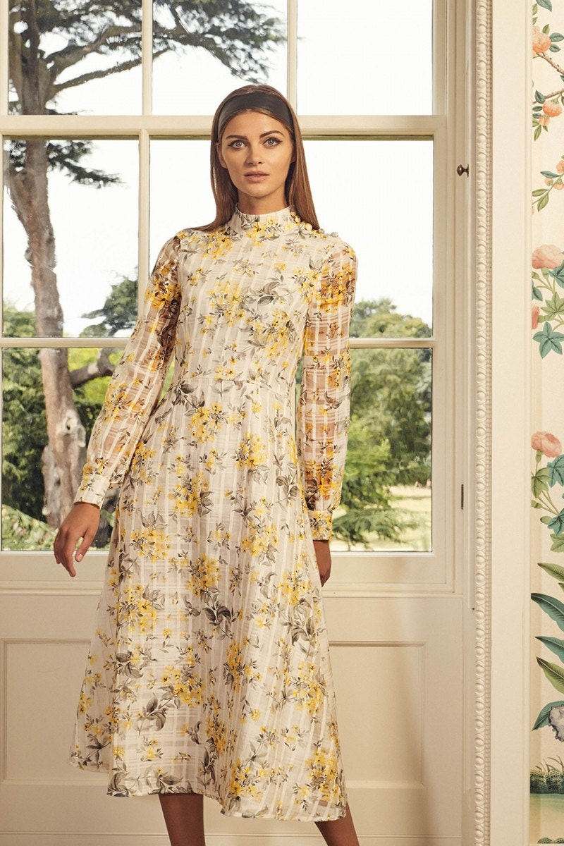 Juniper Dress Flower Check Yellow
