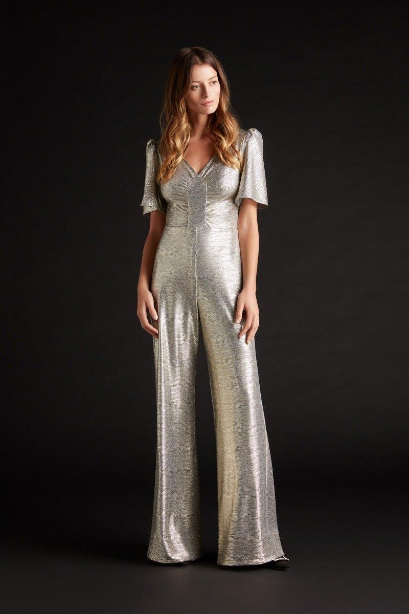 Karolina Metallic Jersey jumpsuit