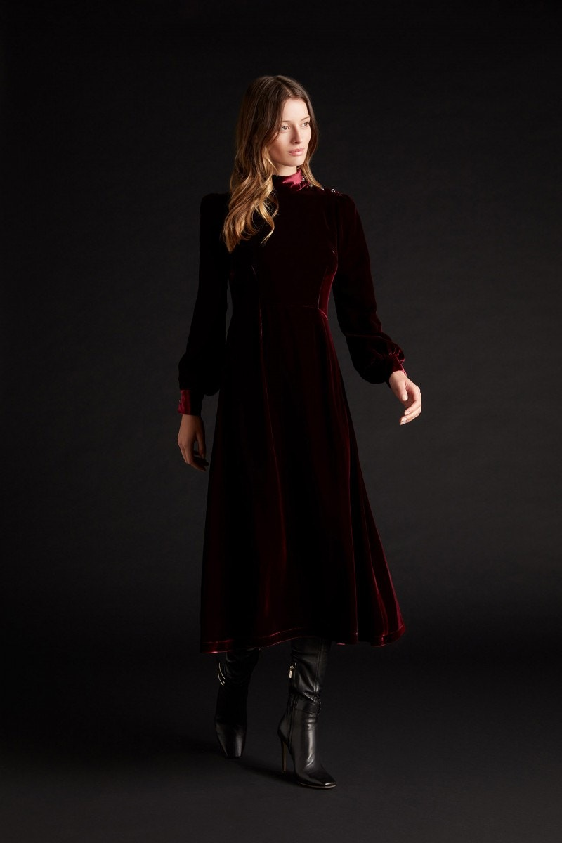 Khalo Velvet Dress Burgundy