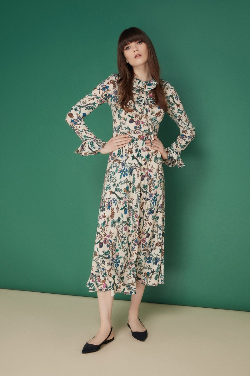 Martha Dress Almond Secret Garden