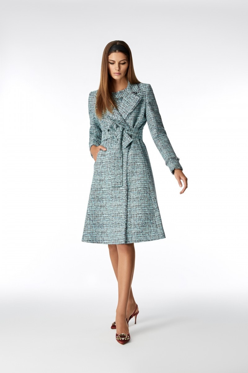 Rae Tweed Coat Aqua