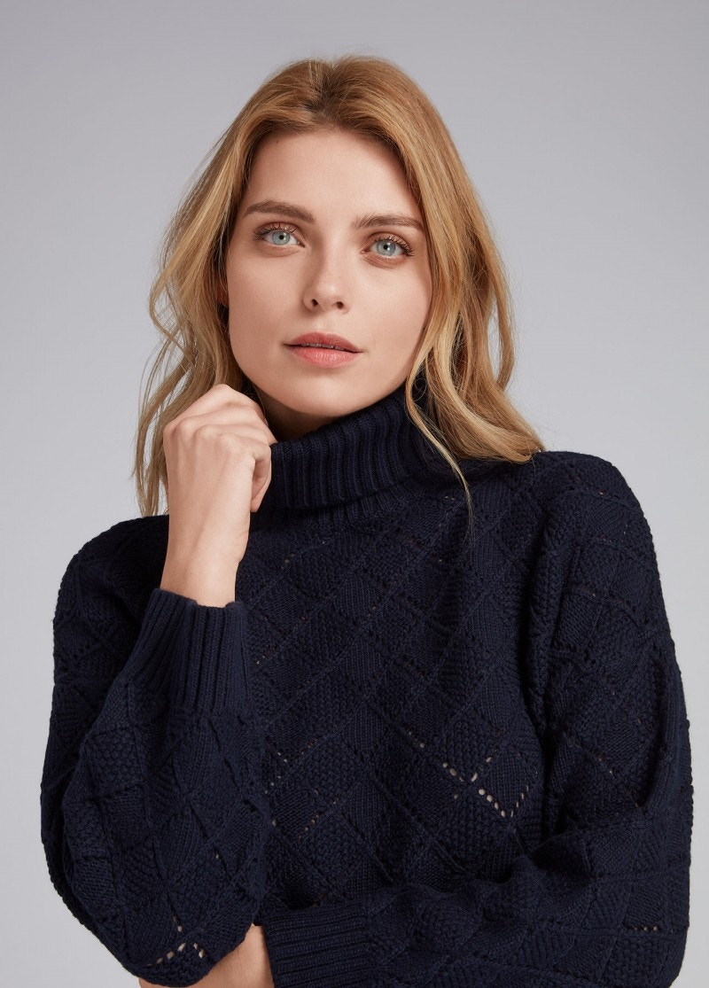 Ilse Roll Neck Sweater Navy