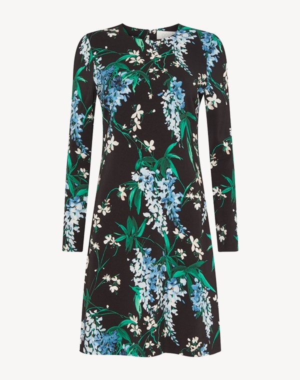 Izzy Dress Black Wisteria Print