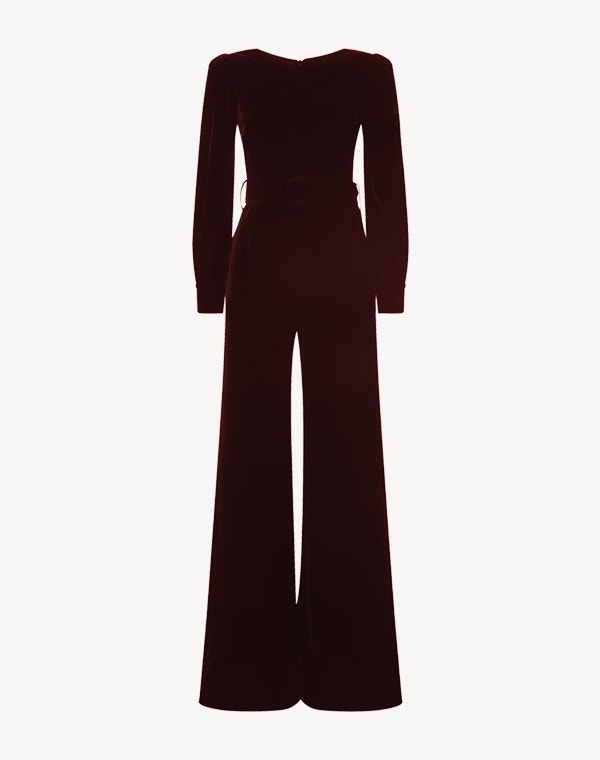King Velvet Jumpsuit Burgundy