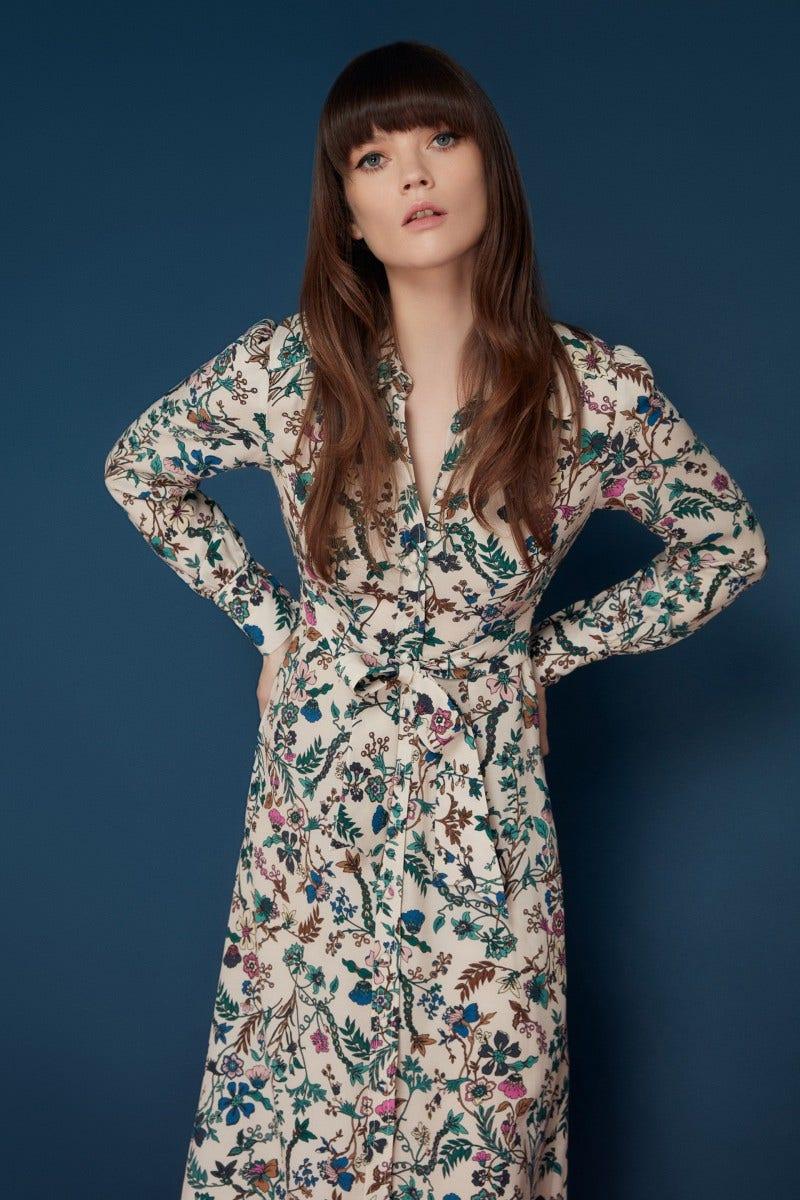 Minerva Dress Almond Secret Garden