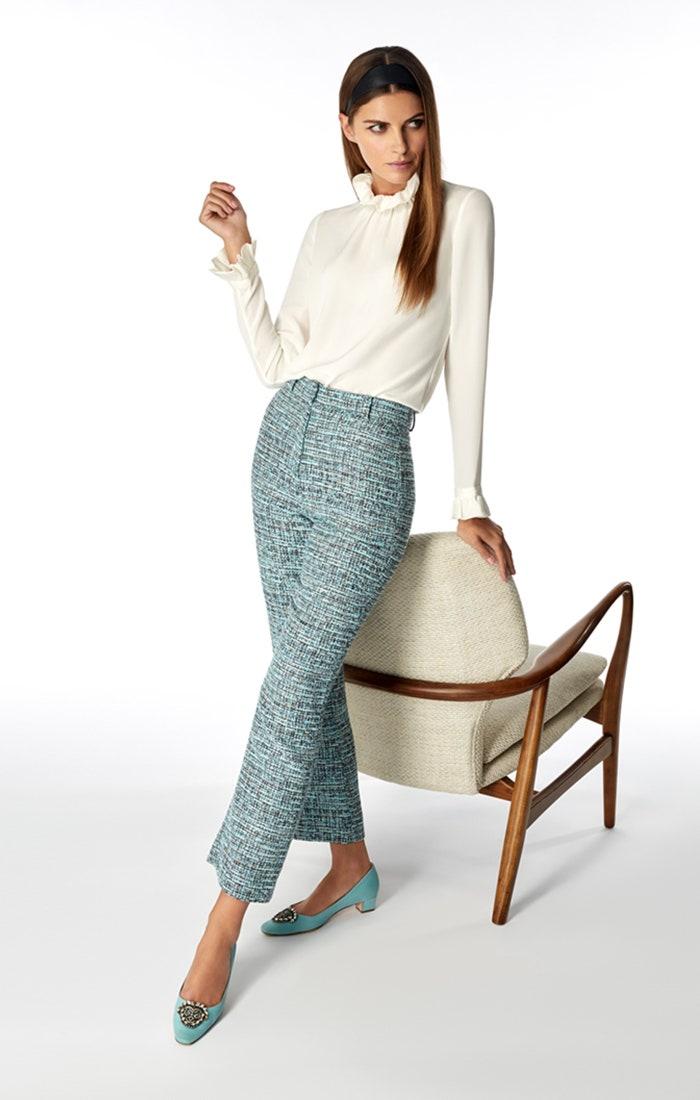 Goat Fashion Joey Trousers Tweed Aqua